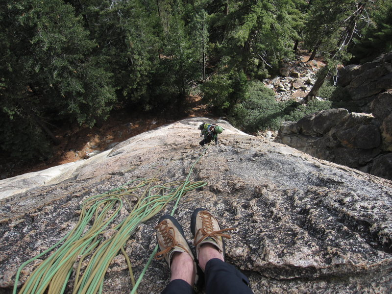 Looking down from the second pitch belay.