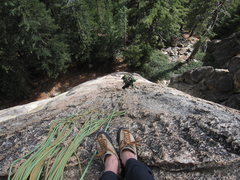 Rock Climbing Photo: Looking down from the second pitch belay.