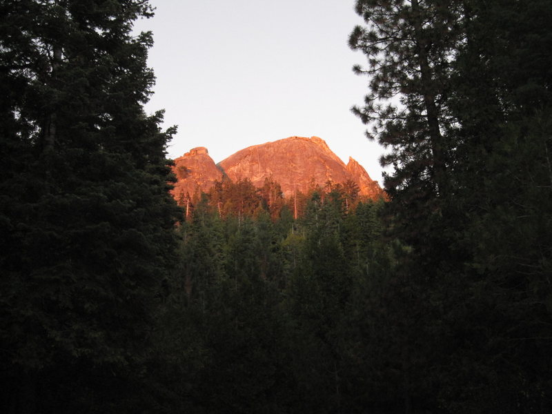 Sunset on the west face of Fresno Dome and Hawk Dome.