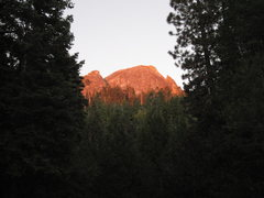 Rock Climbing Photo: Sunset on the west face of Fresno Dome and Hawk Do...