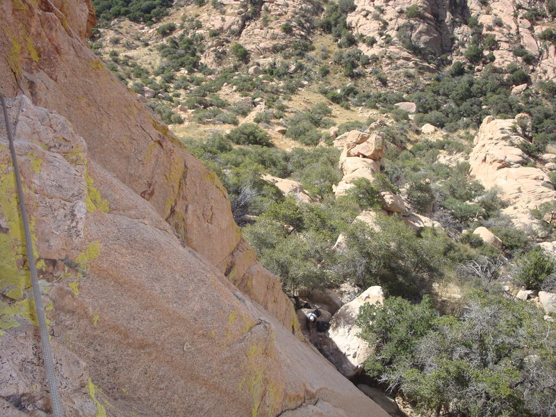1st Pitch from the two bolt anchors left of the crack...Dashle ready to climb it.