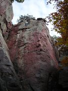 Rock Climbing Photo: Rhoads sketching (his words) on Gill's Crack lead ...