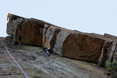 Rock Climbing Photo: Thors Hammer from the base with my friend half way...