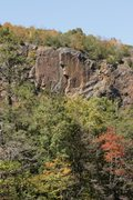 Rock Climbing Photo: Shot from the access road. Tarp used to mark top o...