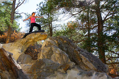 "Rock Climbing Photo: Iona riding ""The Wave"" Boulder."