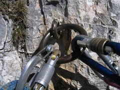 Rock Climbing Photo: Typical belay anchor in the Cinque Torri.  This on...