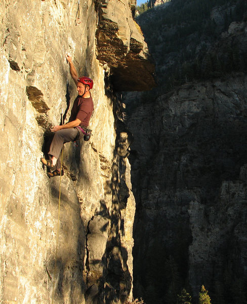 Perin Blanchard starting the crux.<br> <br> Photo by Kip Henrie.
