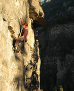 Rock Climbing Photo: Perin Blanchard starting the crux.  Photo by Kip H...