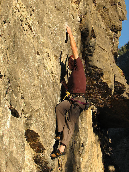 Rock Climbing Photo: In the crux of Step Right Up, November, 2010.