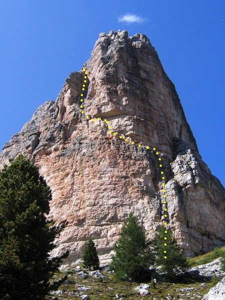 Via Miriam on the Torre Grande Cima Sud.  Route marked in yellow.
