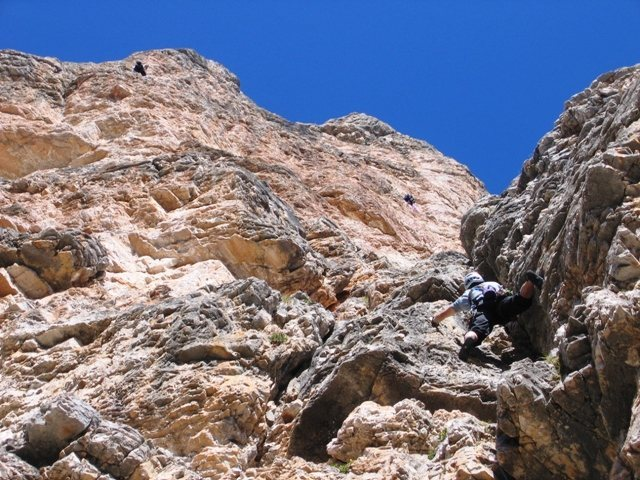 Rock Climbing Photo: First pitch of Via Miriam.