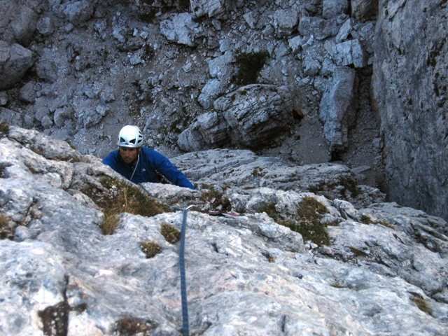 Rock Climbing Photo: Last pitch up the Via Normale on Torre Quarta Bass...