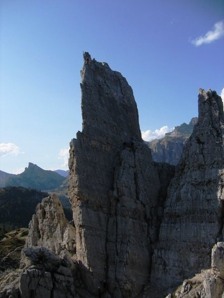 Torre Inglese looking at the Via Normale route (multiple parties on this short, popular classic).