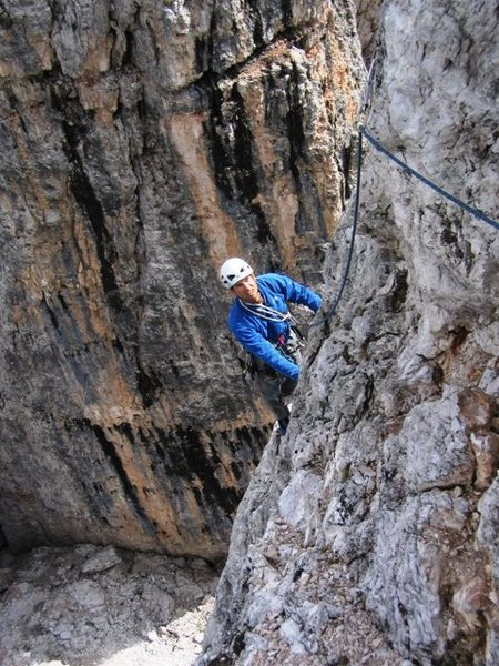Coming up the exposed second pitch of Via Normale on Torre Inglese