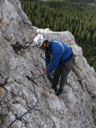 Rock Climbing Photo: Rappel anchor at the end of the traverse to the no...