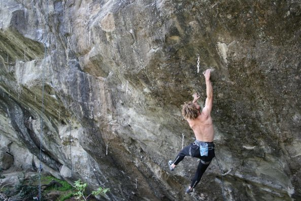 Andy Patterson sticking the crux throw off of the two finger nastiness.