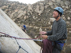 Rock Climbing Photo: Me at the belay between the upper flakes.