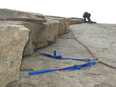 Rock Climbing Photo: Agina leading Left Flake.