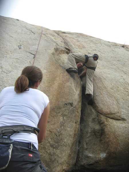 Rock Climbing Photo: Nathan on Rat Crack with Agina on belay.