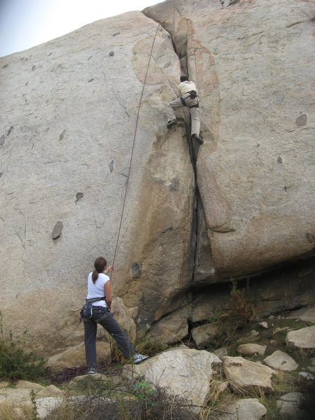 Nathan on Rat Crack with Agina on belay.