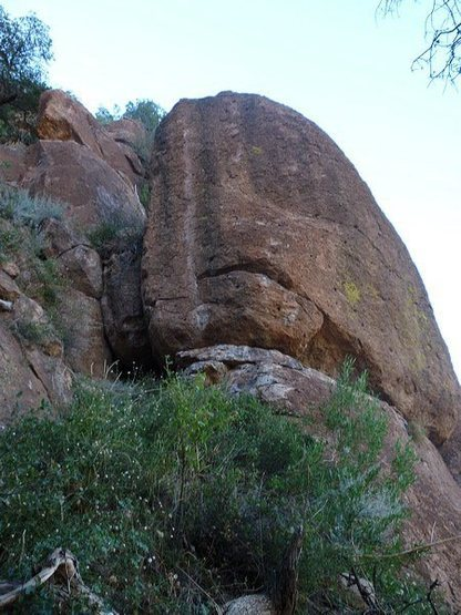 Rock Climbing Photo: Route goes up to the right of the white stripe. Yo...