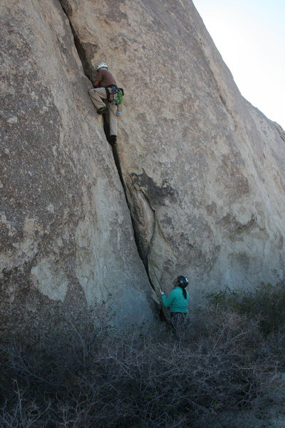 Rock Climbing Photo: Nathan leading Music Box belayed by Agina.