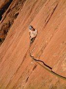 Rock Climbing Photo: John Thomson through the crux on the third pitch o...