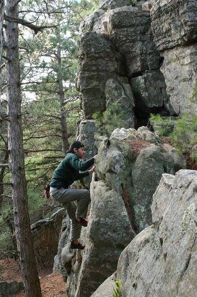 Rock Climbing Photo: P. Gibbons sending. Note the cube in the backgroun...