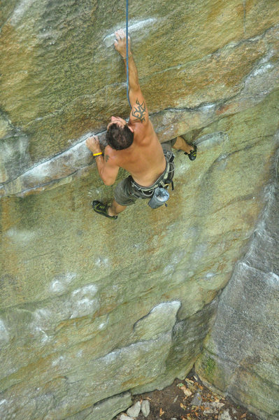 Rock Climbing Photo: Darek at the overhang.