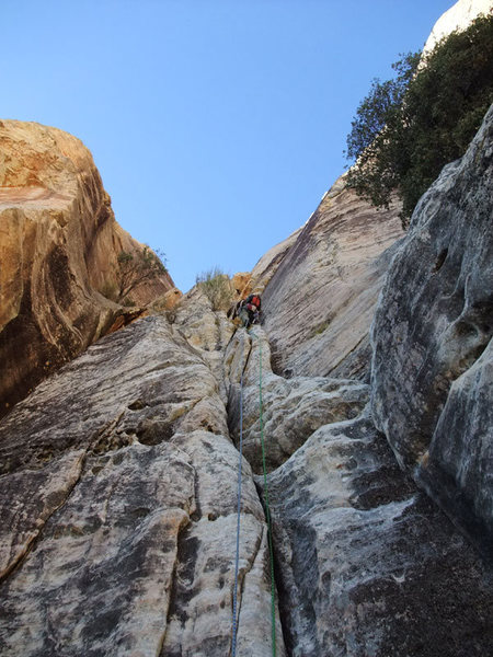 Rock Climbing Photo: Dow past the crux on P1