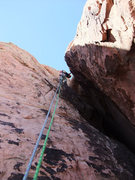 Rock Climbing Photo: Dow about to exit the wide chimney on P3