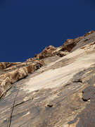 Rock Climbing Photo: P1, the arching lieback crack 50 ft to the right o...