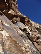Rock Climbing Photo: The traverse on P3. Thin traverse on minimal pro. ...