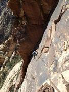 Rock Climbing Photo: Dow starting the P3 traverse