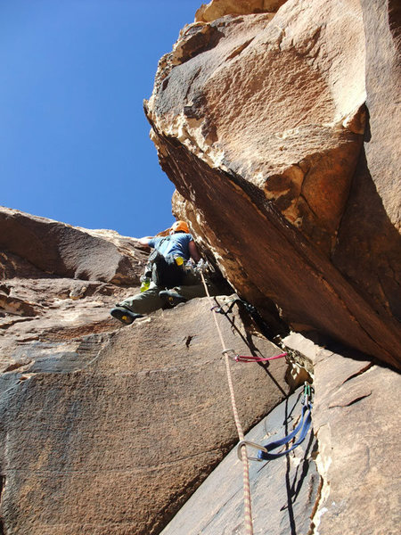Rock Climbing Photo: Dow on the P4 roof. After the roof head left and u...