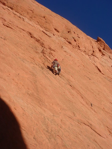 Rock Climbing Photo: Micah on the run to the anchors, finishing my lead...