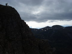 Rock Climbing Photo: resting on a ledge on the west face of Twin Peaks
