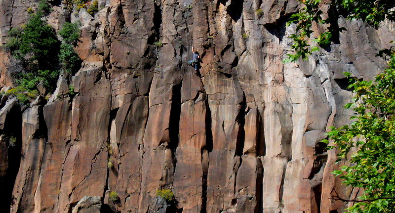 Unknown climber following Outrageous.