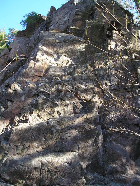 Former Rock and Roll Star...5-8 ish, Route slides up and right to anchors at top right.