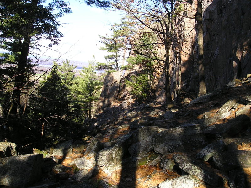 "Rock Climbing Photo: Looking down the cliff past ""Main Wall"" ..."