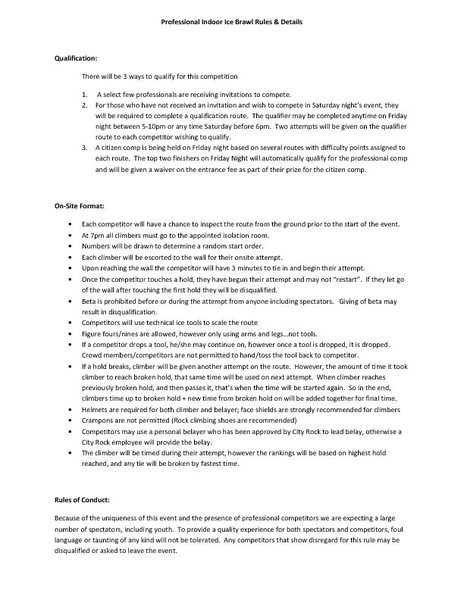 Rock Climbing Photo: Rules and Format for Ice Night X2 Saturday night P...