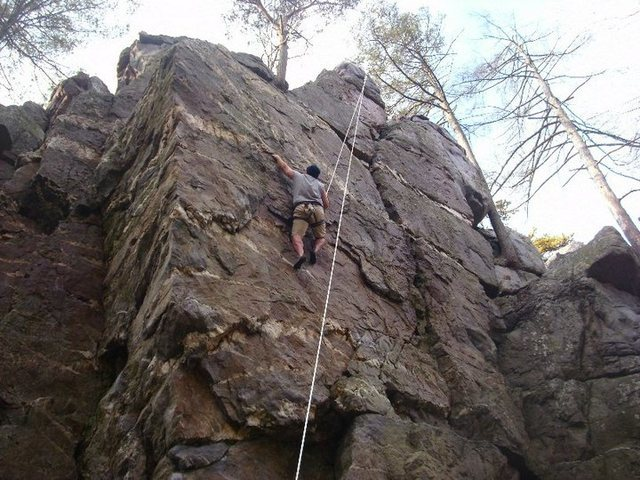 Jim climbing Yellow Pages on the Main Wall at Shaffer Rock.
