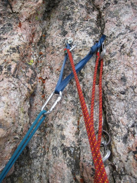 Rock Climbing Photo: Anchors at the top of the first pitch.  We rapped ...