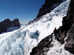 Crossing the Ingraham Glacier in late season