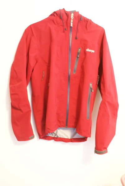Sherpa Lungta Hybrid Shell, size men's small-- it's a little less red in real life.