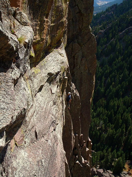 Rock Climbing Photo: A climber on the 5.9 variation to the second pitch...