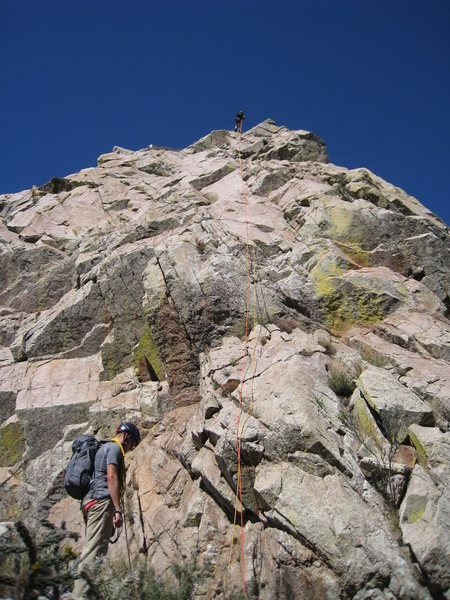 Rapping off the south face of Low Horn 1