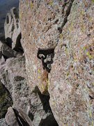 Rock Climbing Photo: A lovely rap anchor on the summit of Low Horn 1 (n...