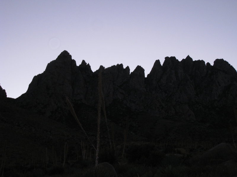 As seen on an early morning approach hike.  Low Horn 1 is hidden behind Gertch on the left, 3 is a tiny sharp peak hanging off of 2, 5 is a trifurcated peak with three summits and 6 is the southernmost of the low horns (immediately north of the spire).