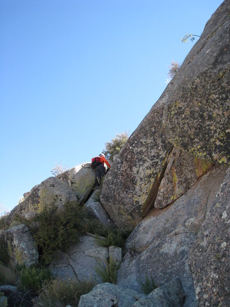 Scrambling up the Northwest face.